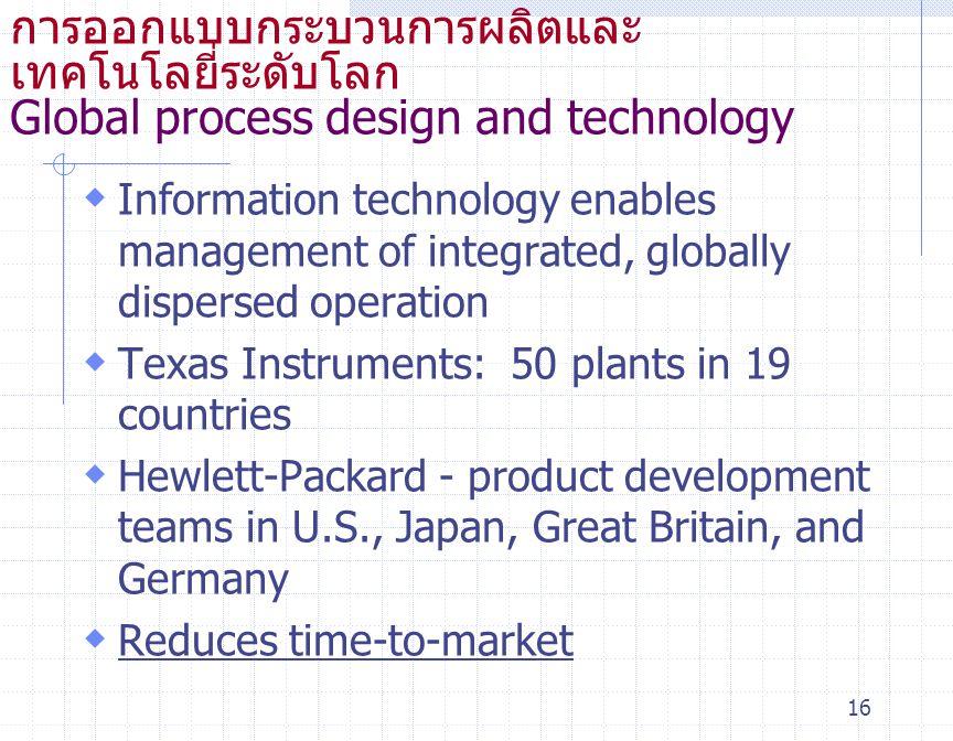 การออกแบบกระบวนการผลิตและ เทคโนโลยี่ระดับโลก Global process design and technology