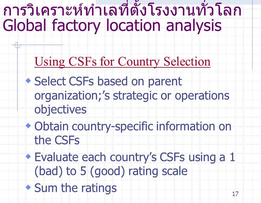 การวิเคราะห์ทำเลที่ตั้งโรงงานทั่วโลก Global factory location analysis