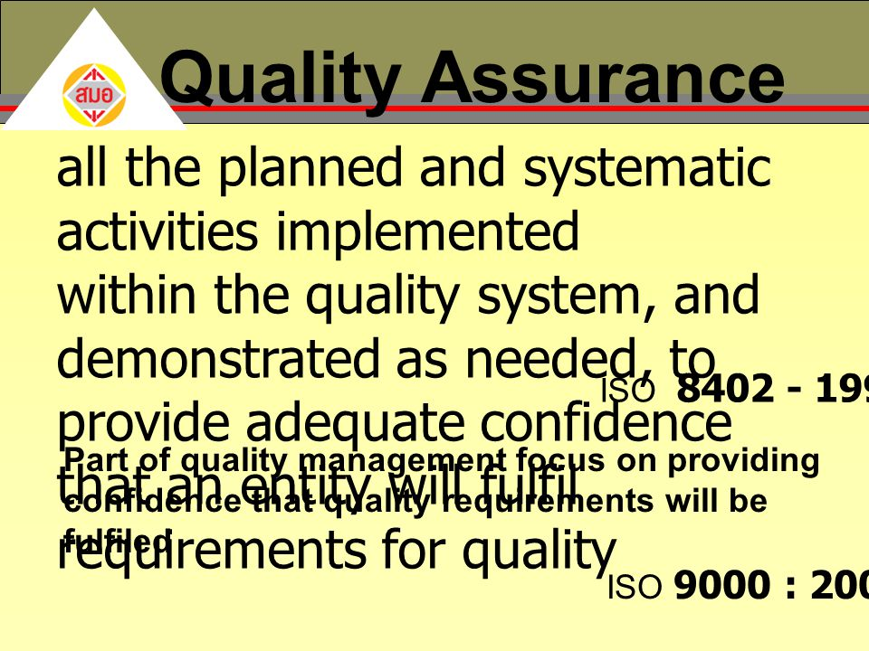 Quality Assurance all the planned and systematic activities implemented.
