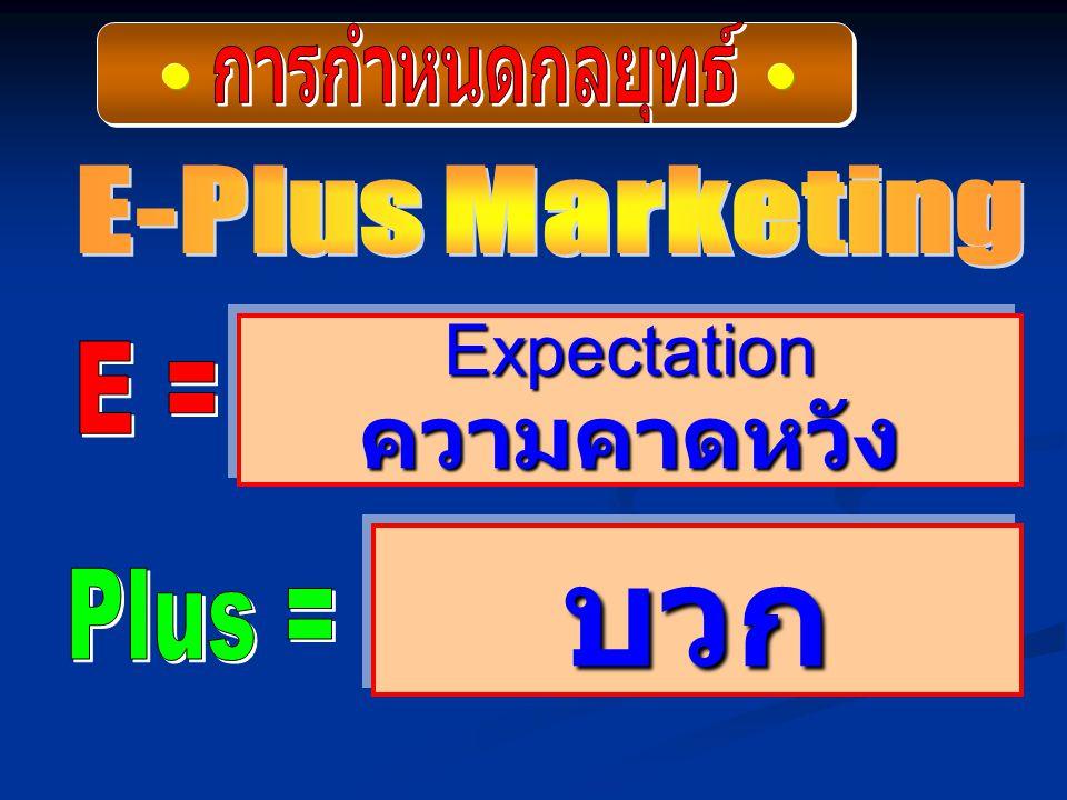 บวก ความคาดหวัง Expectation การกำหนดกลยุทธ์ E-Plus Marketing E =