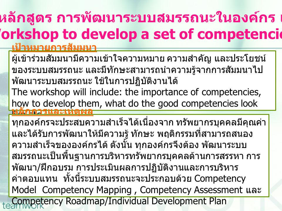 Workshop to develop a set of competencies