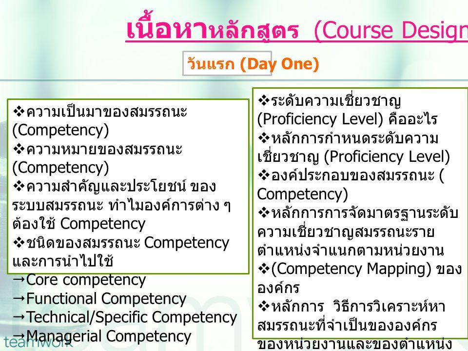 เนื้อหาหลักสูตร (Course Designed)