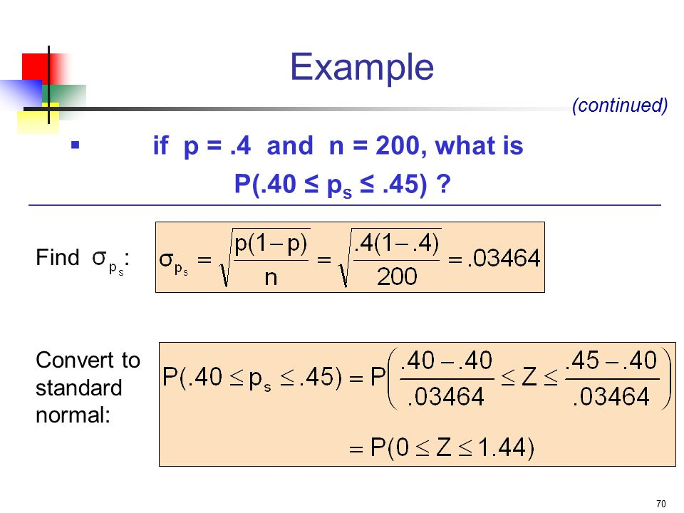 Example if p = .4 and n = 200, what is P(.40 ≤ ps ≤ .45) Find :