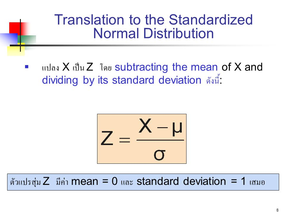 Translation to the Standardized Normal Distribution