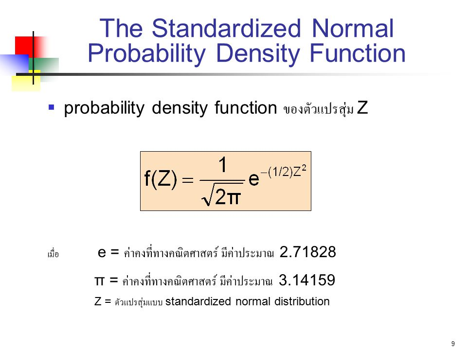The Standardized Normal Probability Density Function