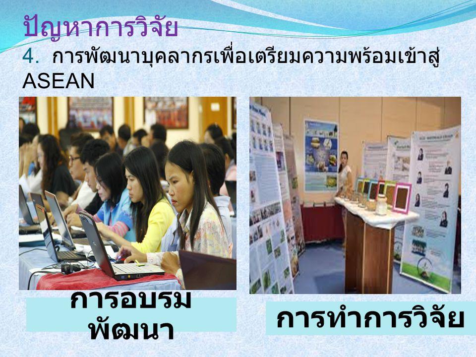 ปัญหาการวิจัย 4. การพัฒนาบุคลากรเพื่อเตรียมความพร้อมเข้าสู่ ASEAN