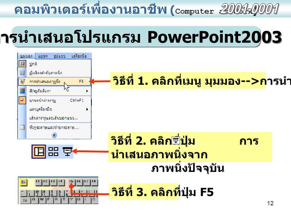 การนำเสนอโปรแกรม PowerPoint2003