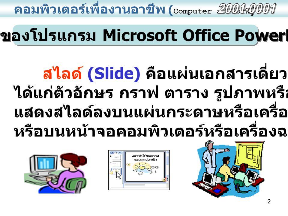 ลักษณะของโปรแกรม Microsoft Office PowerPoint