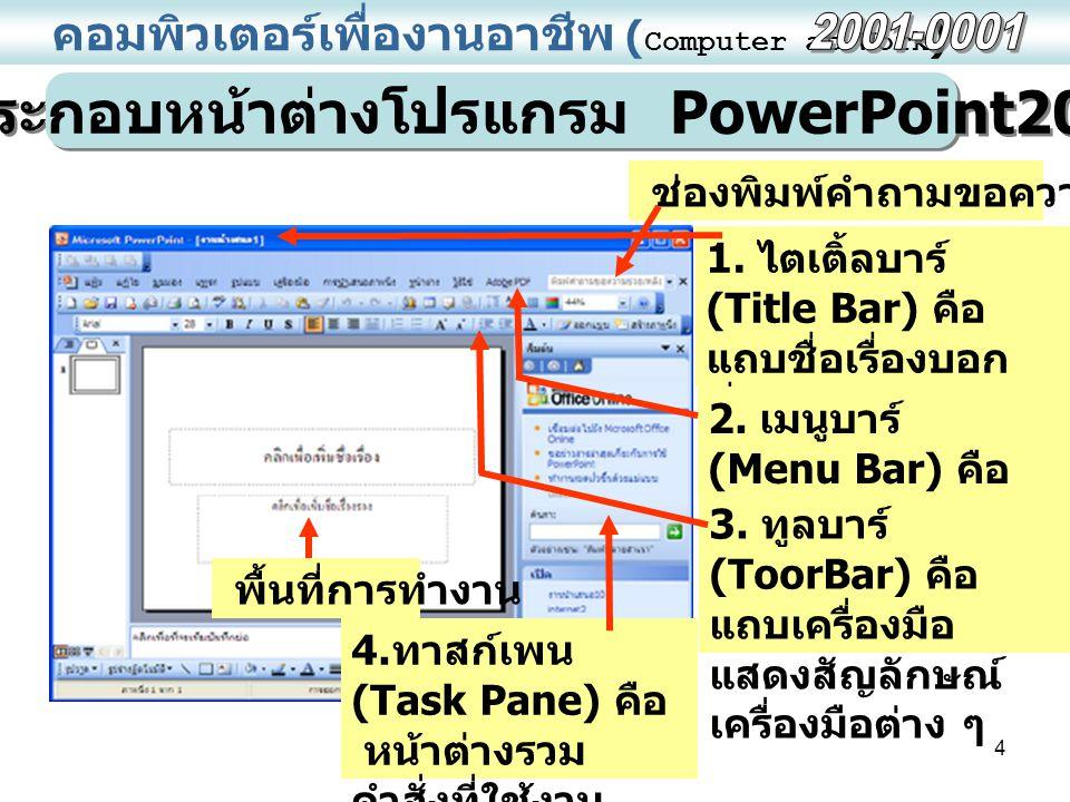 ส่วนประกอบหน้าต่างโปรแกรม PowerPoint2003