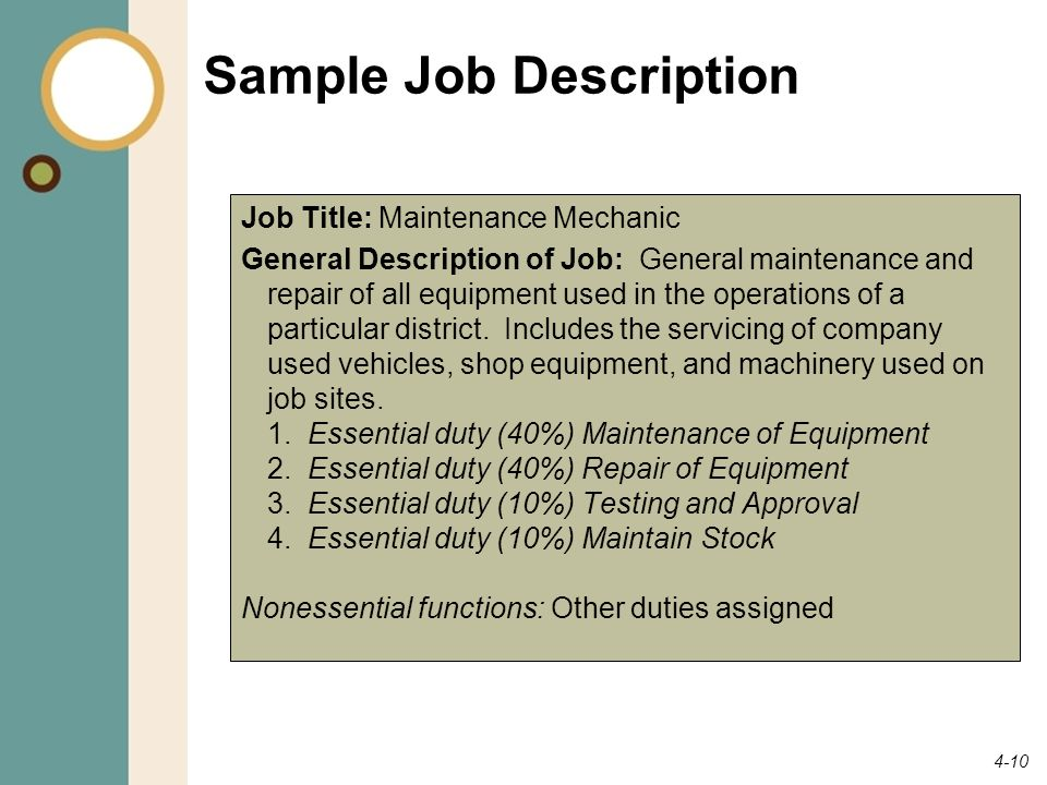 Sample Job Description