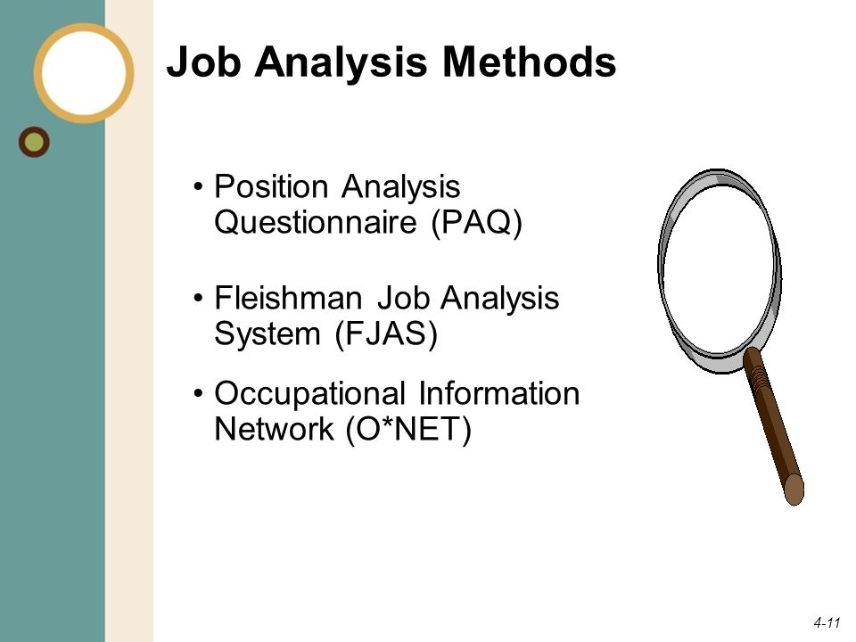 Job Analysis Methods Position Analysis Questionnaire (PAQ)