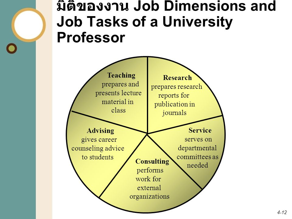 มิติของงาน Job Dimensions and Job Tasks of a University Professor