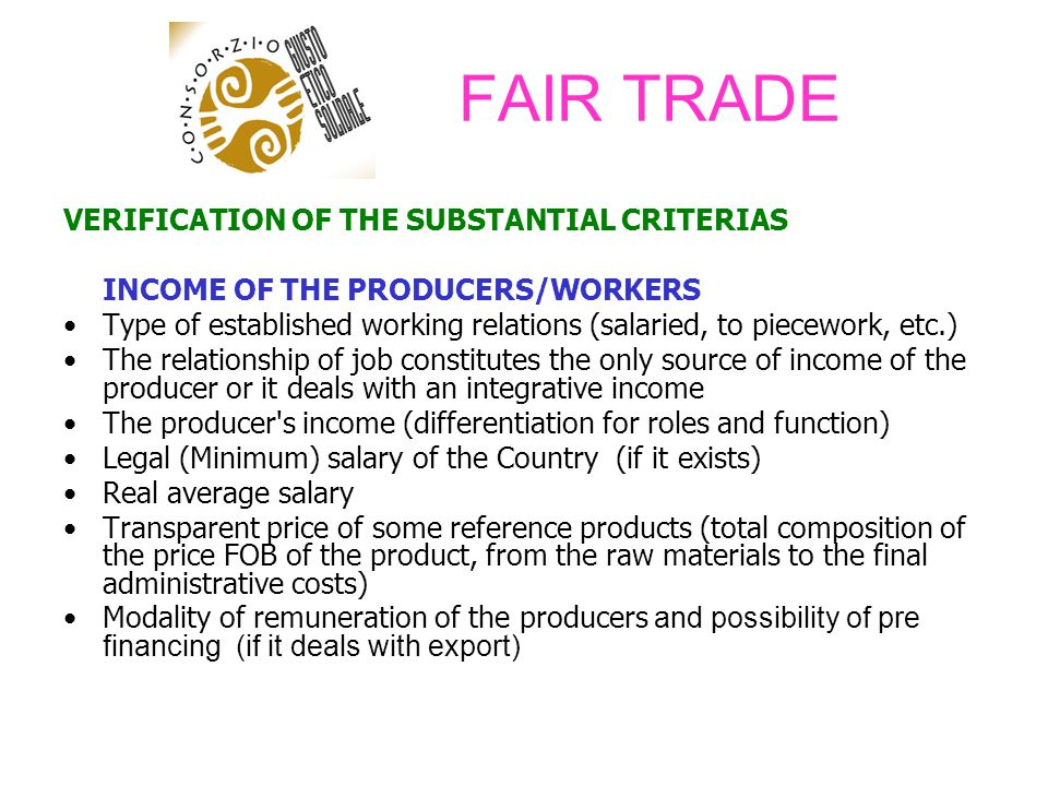 FAIR TRADE VERIFICATION OF THE SUBSTANTIAL CRITERIAS