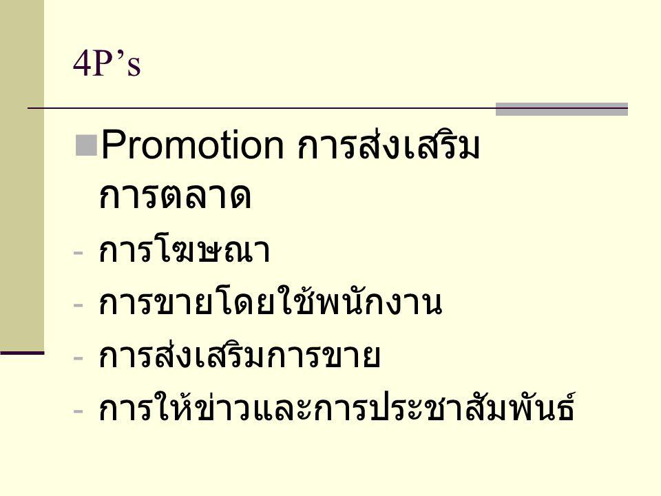 Promotion การส่งเสริมการตลาด