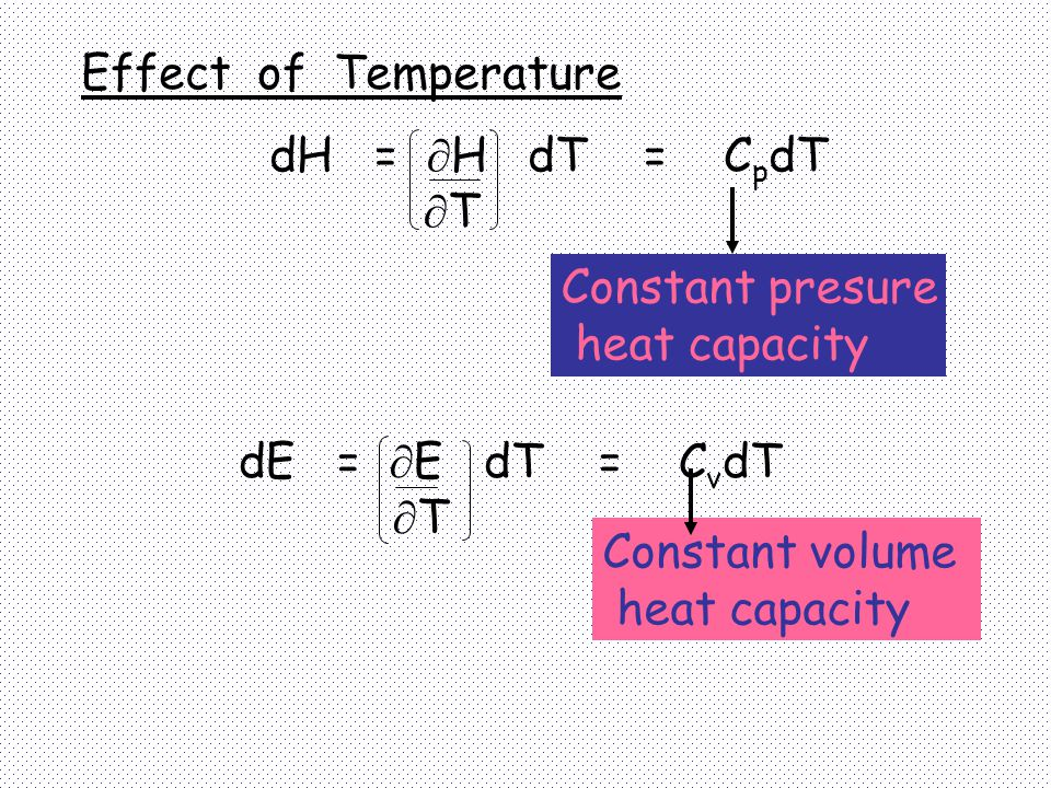 Effect of Temperature dH = H dT = CpdT. T. Constant presure. heat capacity. dE = E dT = CvdT.
