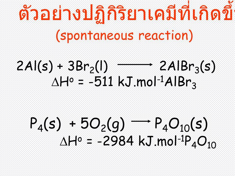 ตัวอย่างปฏิกิริยาเคมีที่เกิดขึ้นเองได้