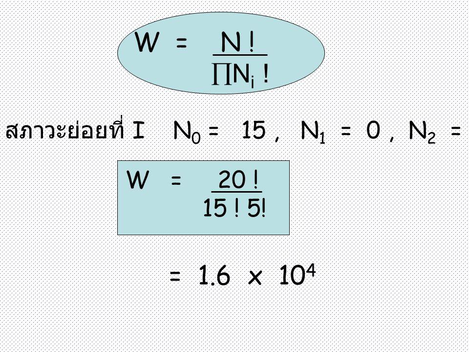 W = N ! Ni ! = 1.6 x 104 สภาวะย่อยที่ I N0 = 15 , N1 = 0 , N2 = 5