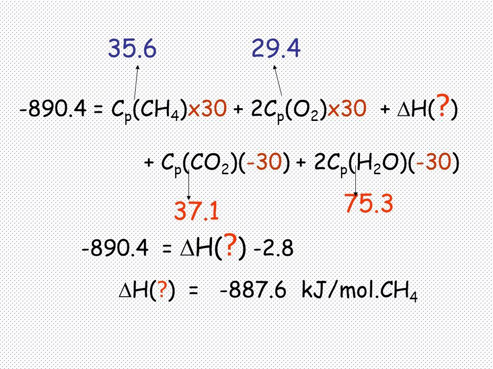 35.6 29.4 75.3 37.1 -890.4 = Cp(CH4)x30 + 2Cp(O2)x30 + H( )