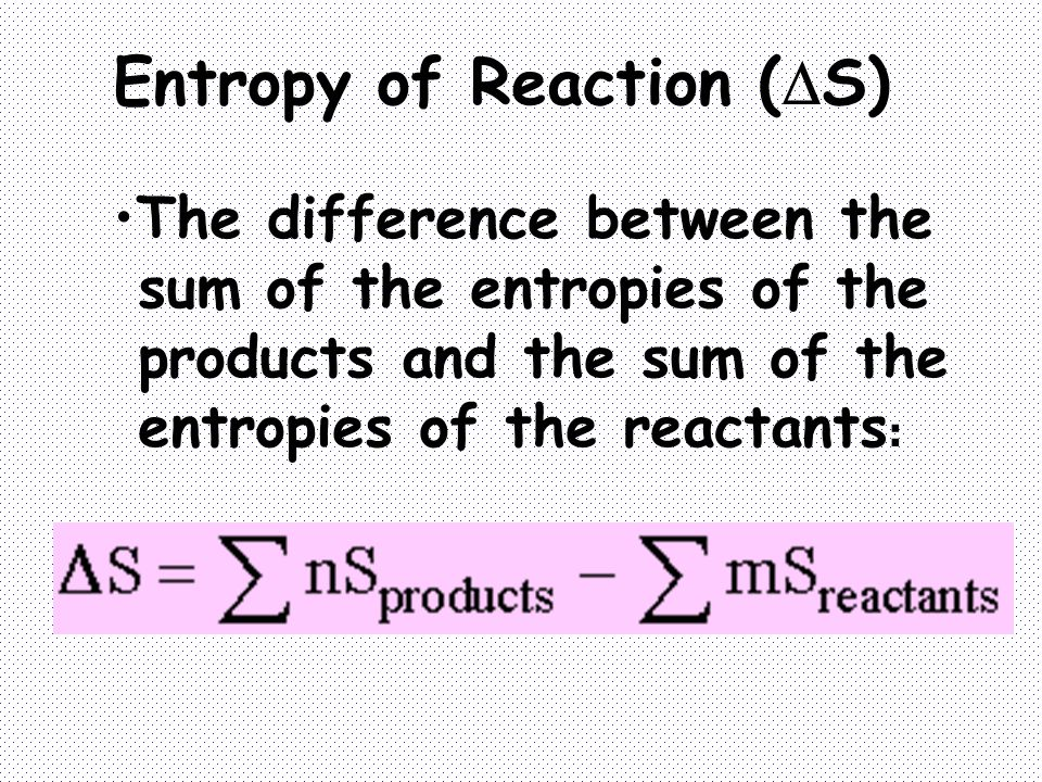 Entropy of Reaction (S)