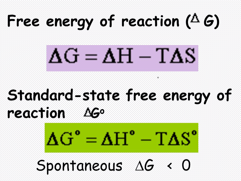 Free energy of reaction ( G)