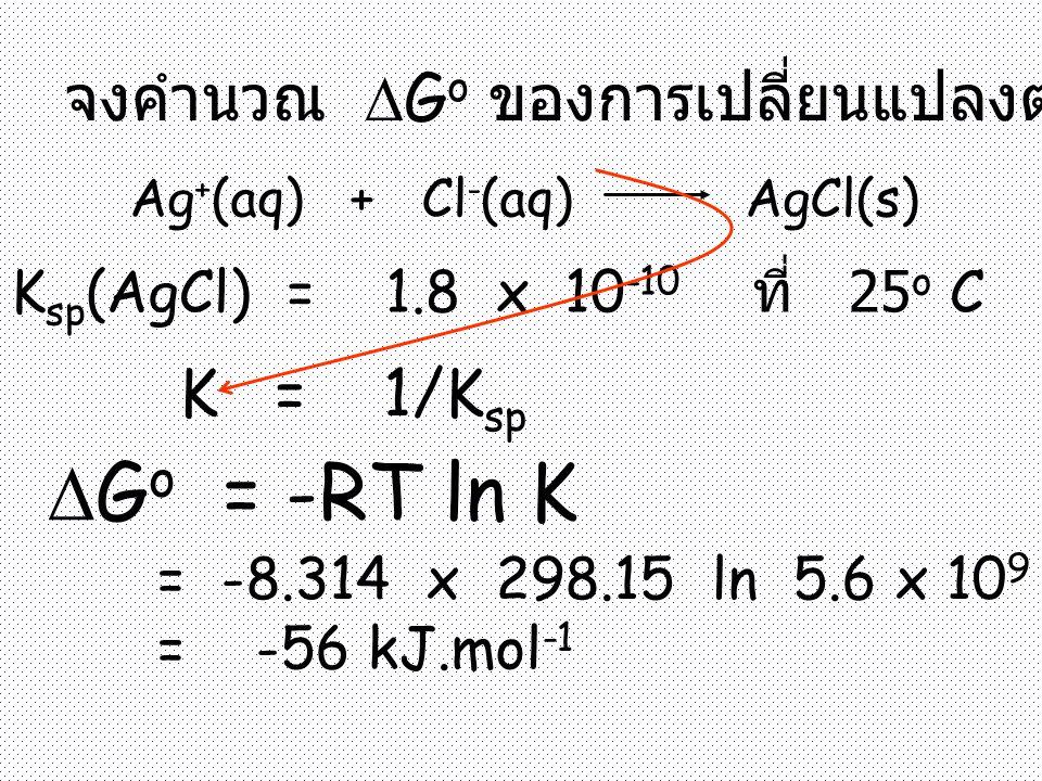 Go = -RT ln K จงคำนวณ Go ของการเปลี่ยนแปลงต่อไปนี้ K = 1/Ksp