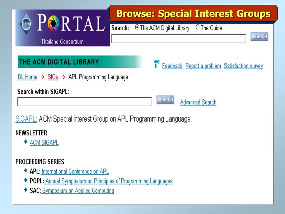 Browse: Special Interest Groups
