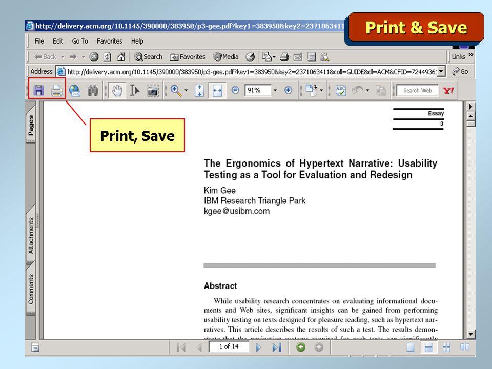 Print & Save Print, Save