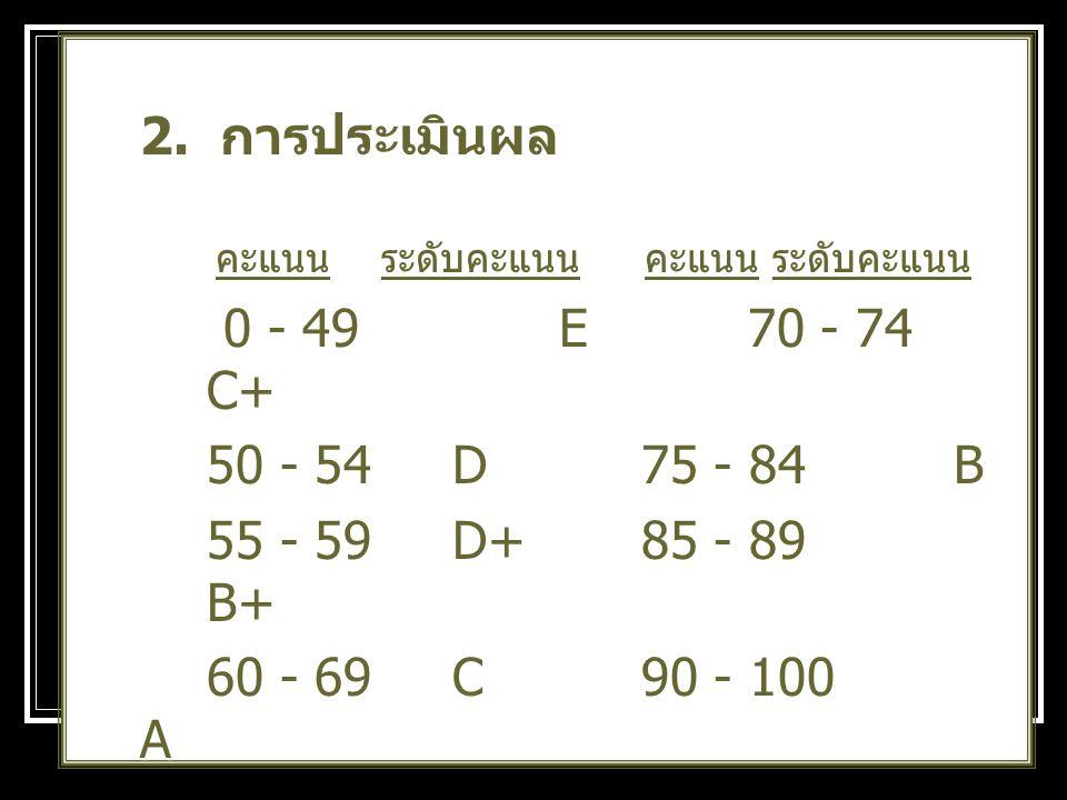2. การประเมินผล คะแนน ระดับคะแนน คะแนน ระดับคะแนน. 0 - 49 E 70 - 74 C+ 50 - 54 D 75 - 84 B.