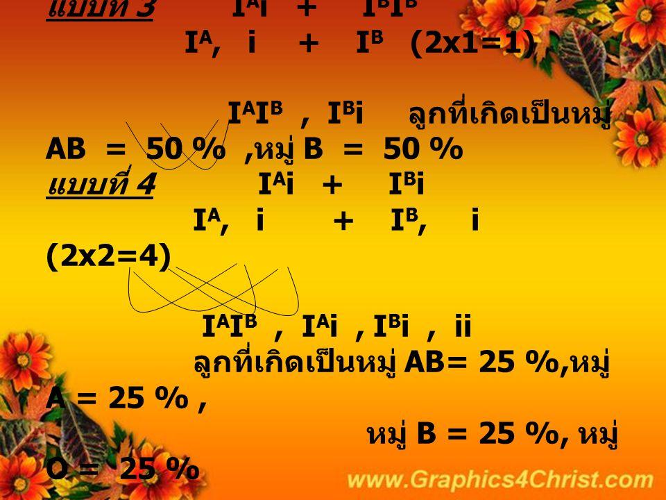 แบบที่ 3 IAi + IBIB IA, i + IB (2x1=1) IAIB , IBi ลูกที่เกิดเป็นหมู่ AB = 50 % ,หมู่ B = 50 % แบบที่ 4 IAi + IBi IA, i + IB, i (2x2=4) IAIB , IAi , IBi , ii ลูกที่เกิดเป็นหมู่ AB= 25 %,หมู่A = 25 % , หมู่ B = 25 %, หมู่ O = 25 %
