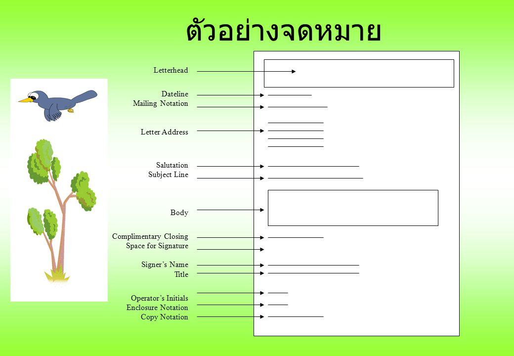ตัวอย่างจดหมาย Letterhead Dateline Mailing Notation Letter Address