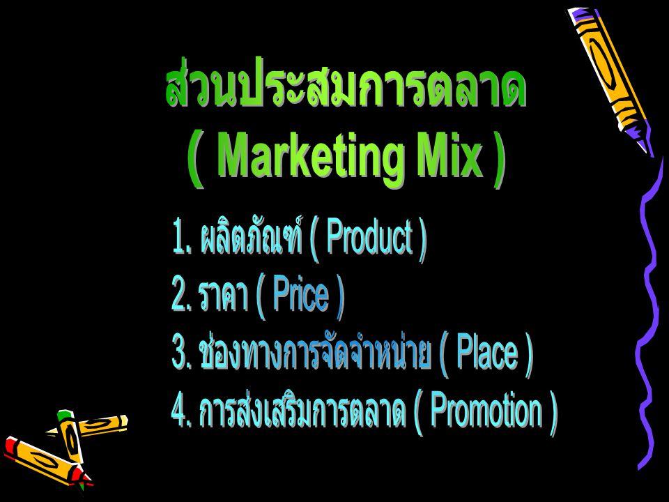 ส่วนประสมการตลาด ( Marketing Mix ) 1. ผลิตภัณฑ์ ( Product ) 2. ราคา ( Price ) 3. ช่องทางการจัดจำหน่าย ( Place )