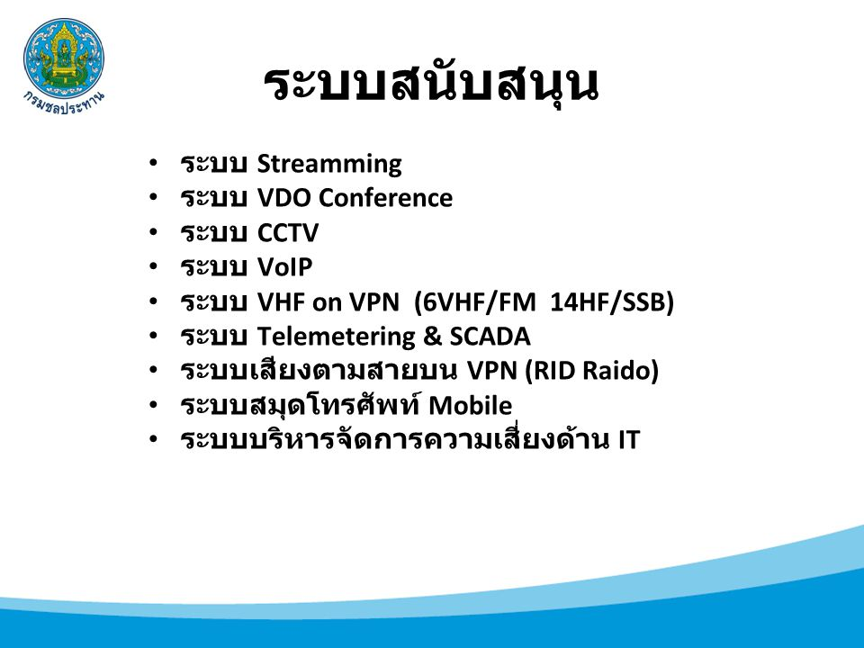 ระบบสนับสนุน ระบบ Streamming ระบบ VDO Conference ระบบ CCTV ระบบ VoIP