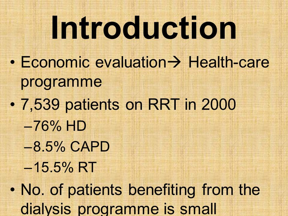 Introduction Economic evaluation Health-care programme