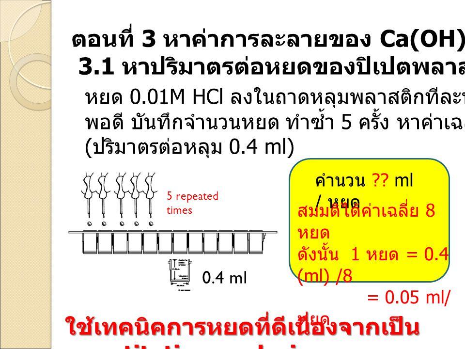 ตอนที่ 3 หาค่าการละลายของ Ca(OH)2 ในน้ำ
