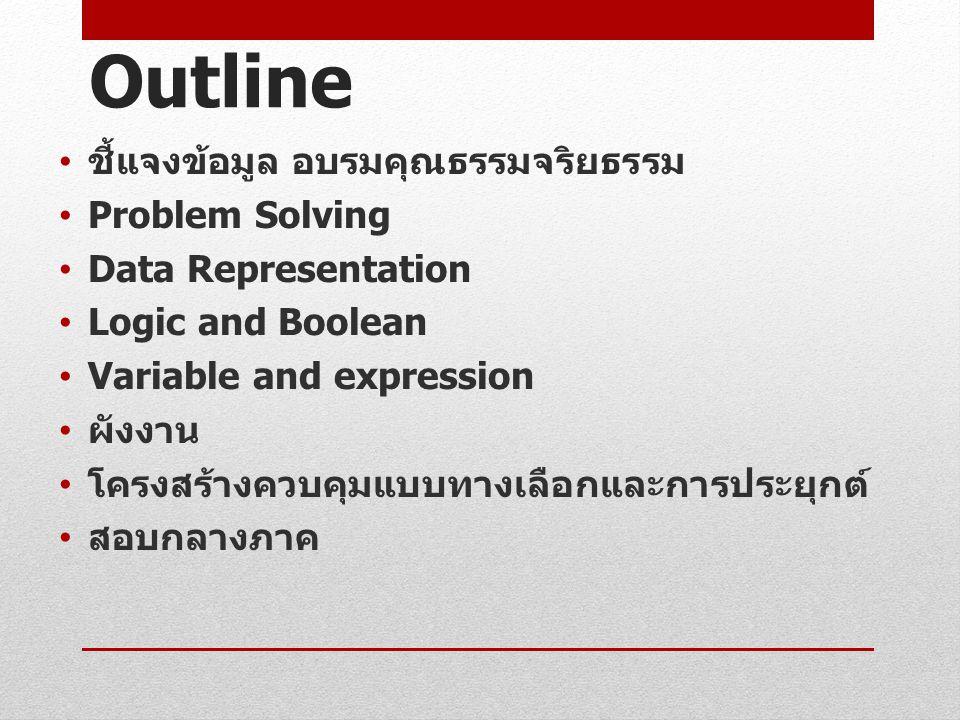 Outline ชี้แจงข้อมูล อบรมคุณธรรมจริยธรรม Problem Solving