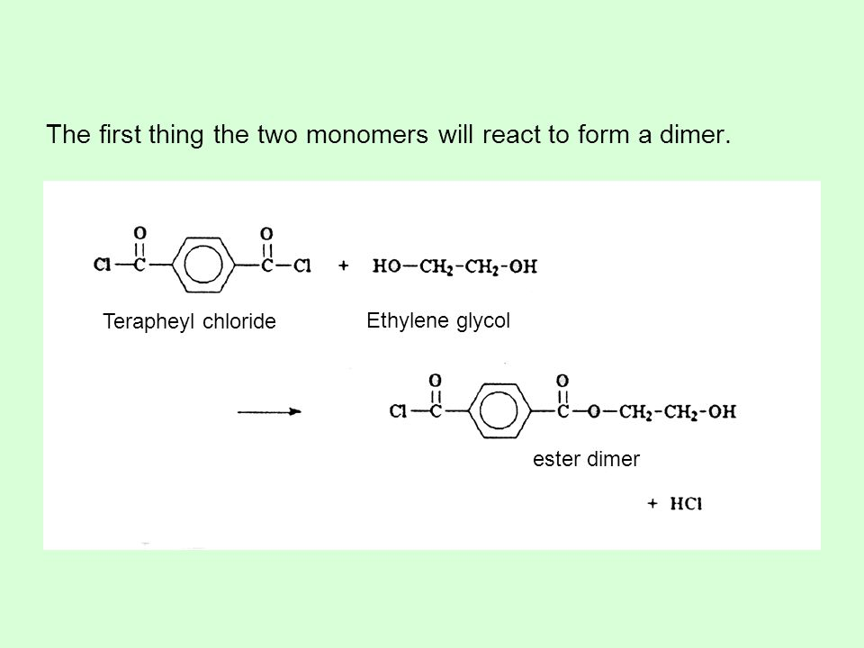 The first thing the two monomers will react to form a dimer.