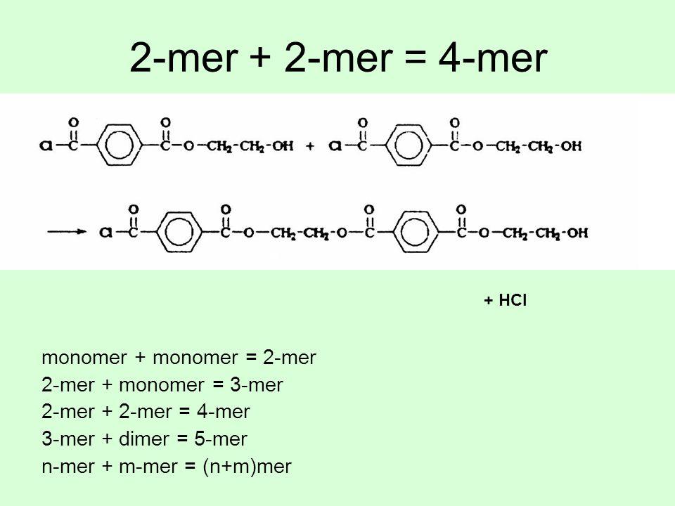 2-mer + 2-mer = 4-mer monomer + monomer = 2-mer