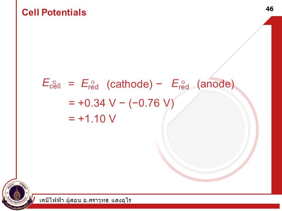 Ecell  = Ered (cathode) − (anode) = +0.34 V − (−0.76 V) = +1.10 V