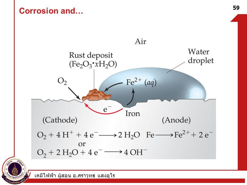 Corrosion and… เคมีไฟฟ้า ผู้สอน อ.ศราวุทธ แสงอุไร