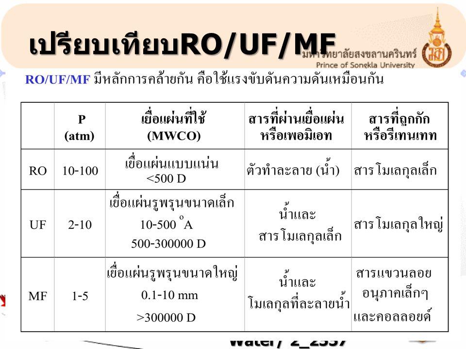 เปรียบเทียบRO/UF/MF 721-485 Industrial Water/ 2_2557