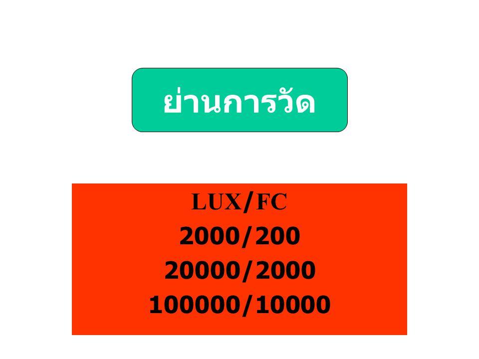 ย่านการวัด LUX/FC 2000/200 20000/2000 100000/10000