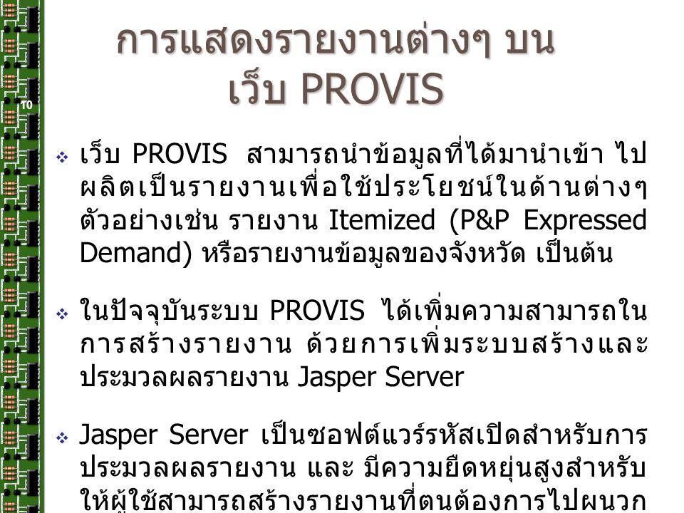 การแสดงรายงานต่างๆ บนเว็บ PROVIS
