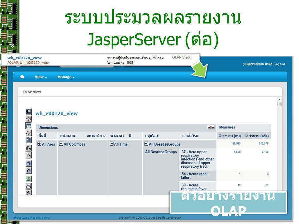 ระบบประมวลผลรายงาน JasperServer (ต่อ)