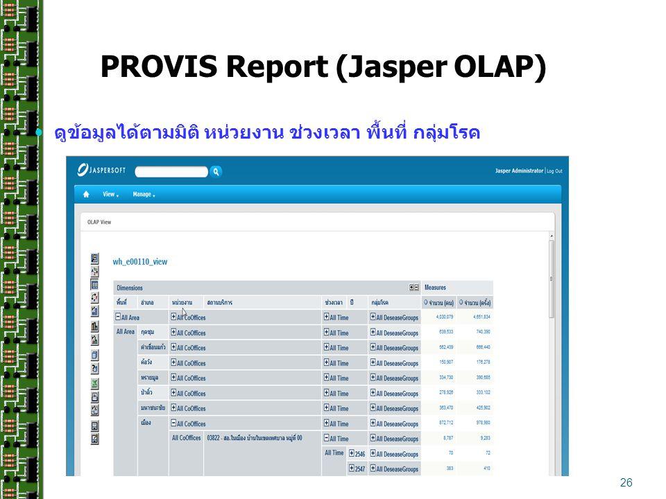 PROVIS Report (Jasper OLAP)