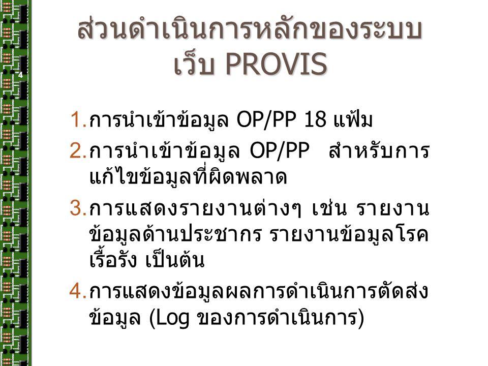ส่วนดำเนินการหลักของระบบเว็บ PROVIS