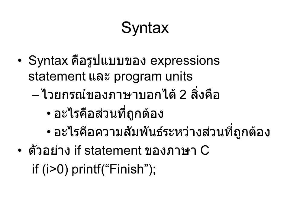 Syntax Syntax คือรูปแบบของ expressions statement และ program units
