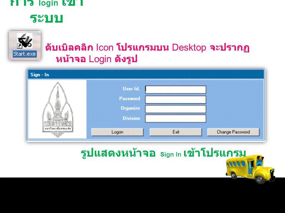 การ login เข้าระบบ รูปแสดงหน้าจอ Sign In เข้าโปรแกรม