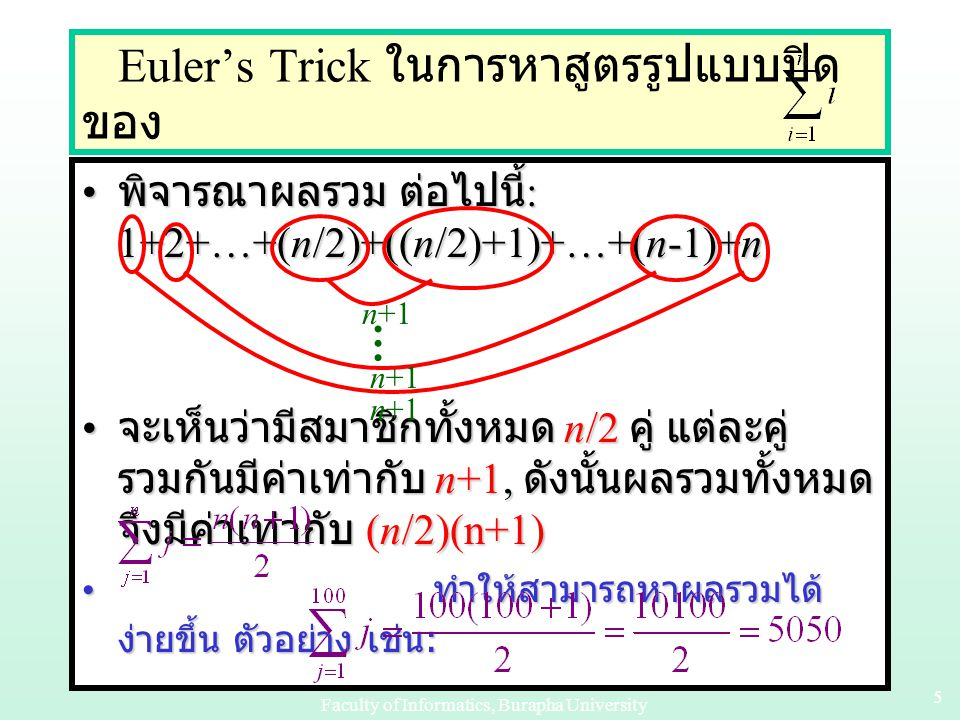 Euler's Trick ในการหาสูตรรูปแบบปิดของ