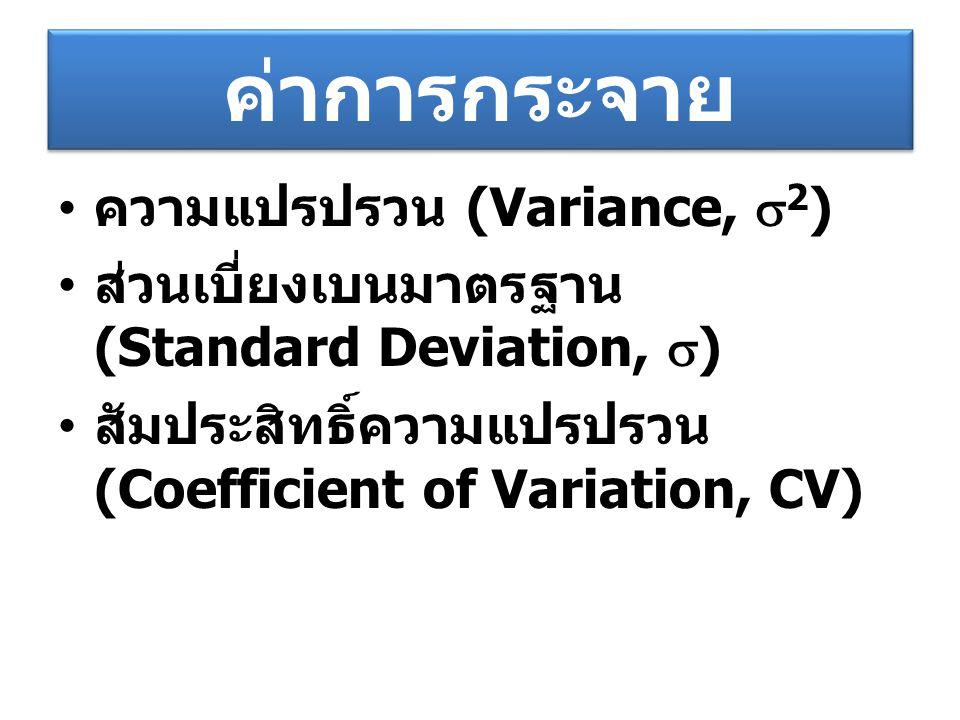 ค่าการกระจาย ความแปรปรวน (Variance, 2)