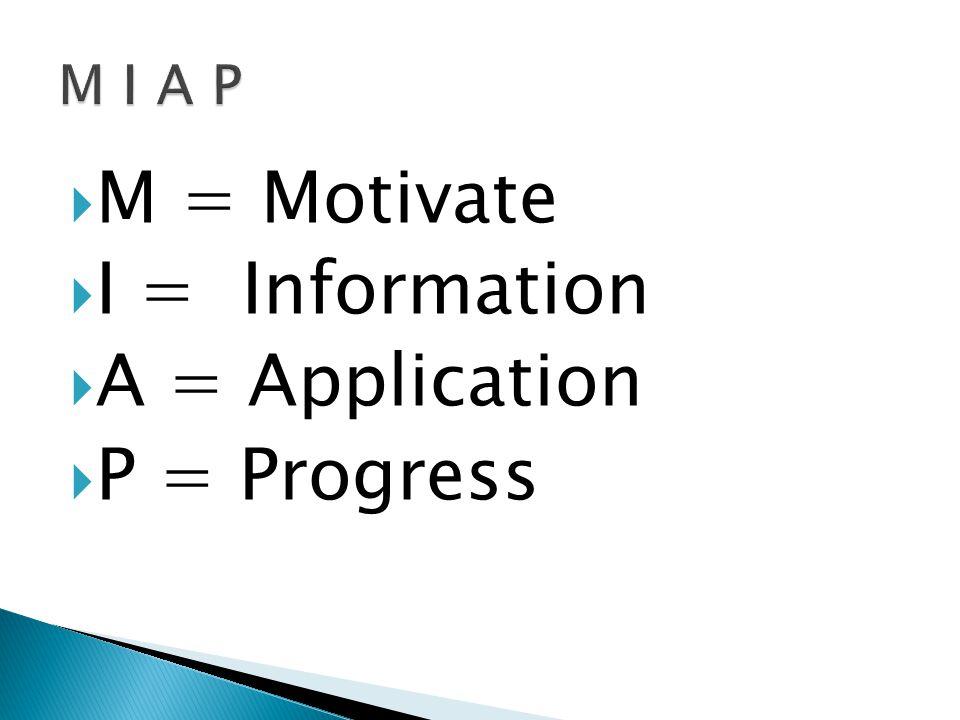 M I A P M = Motivate I = Information A = Application P = Progress